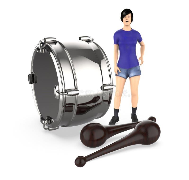 3d caractère, femme, étonné, presque se tenant à un tambour et aux battements illustration de vecteur