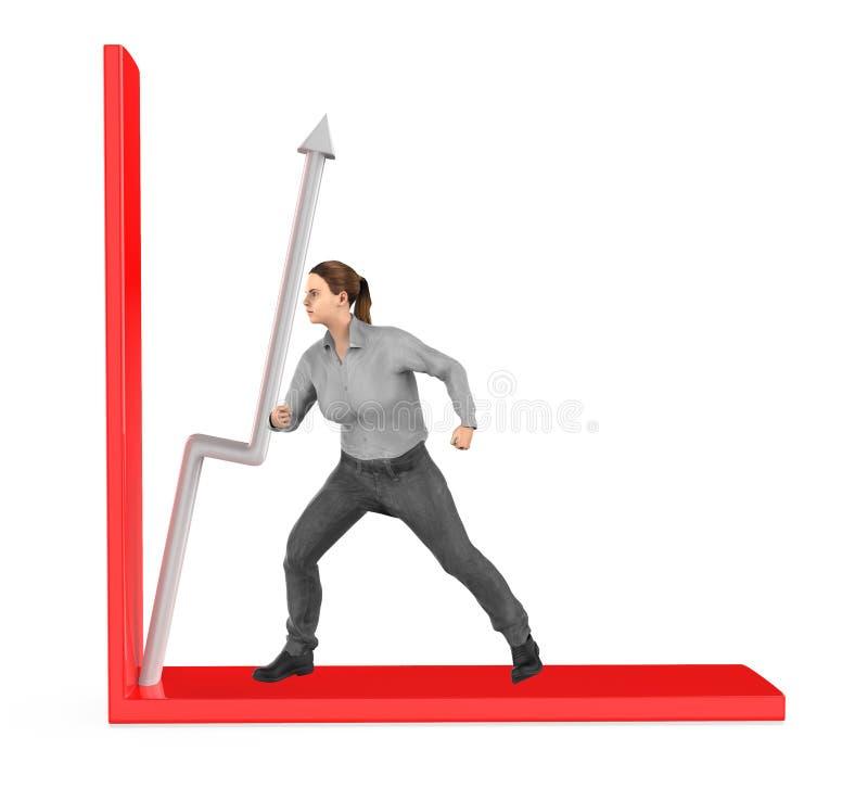 3d caractère, femme, flèche de poussée dans un graphique illustration libre de droits