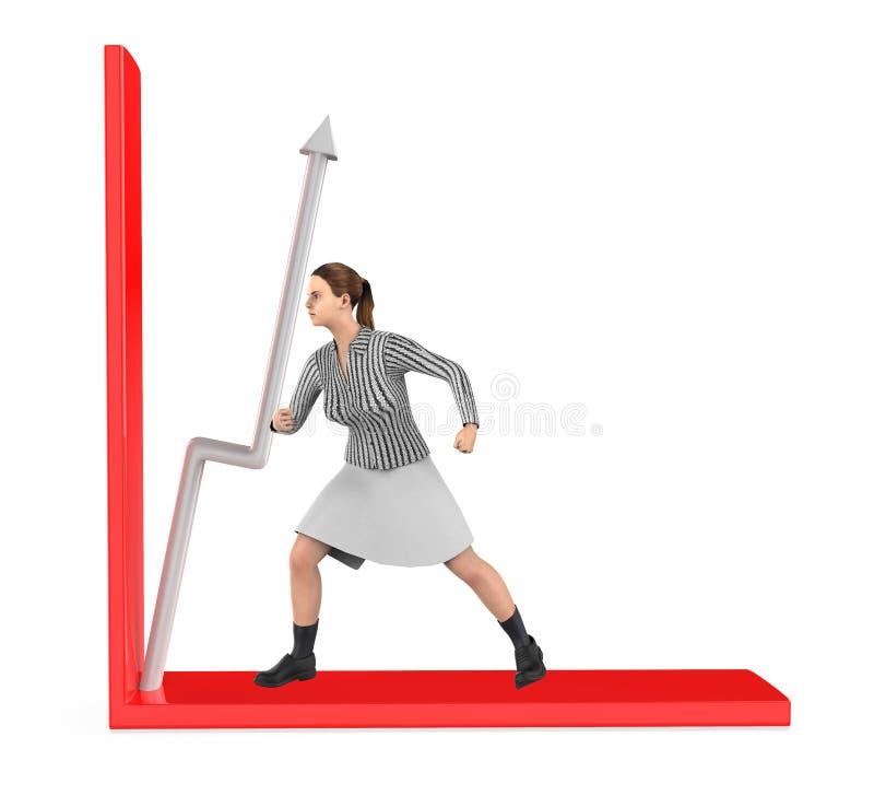 3d caractère, femme, flèche de puch dans un graphique illustration stock