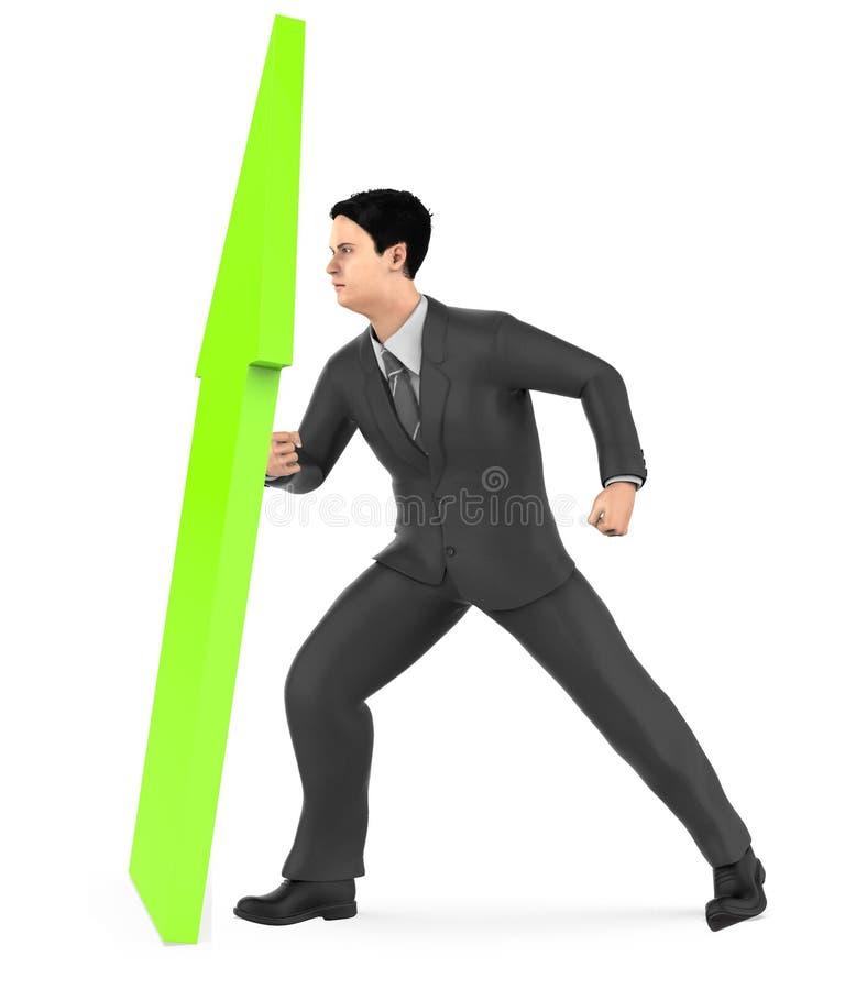 3d caractère, homme élevant une flèche vers le haut illustration stock