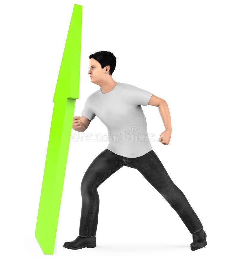 3d caractère, homme élevant une flèche vers le haut illustration de vecteur