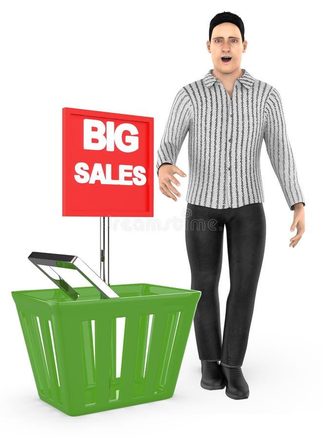 3d caractère, homme, étonné, excité, presque se tenant à un panier avec la grande annonce de vente illustration de vecteur