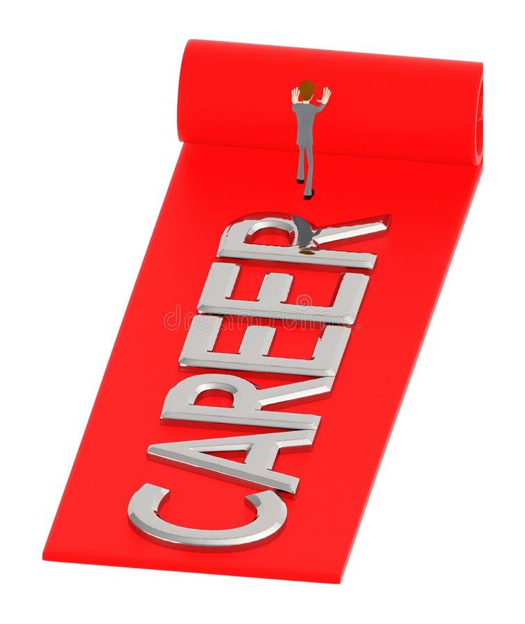 3d caractère, homme déroulant un tapis avec le texte de carrière dans lui illustration de vecteur