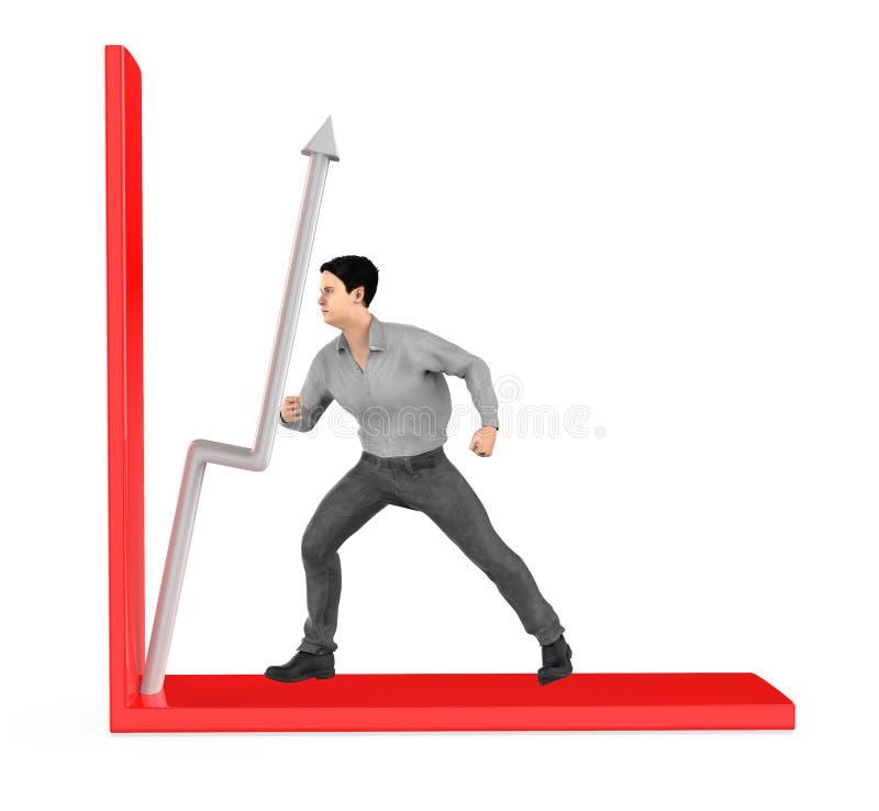 3d caractère, homme, flèche de poussée dans un graphique illustration de vecteur