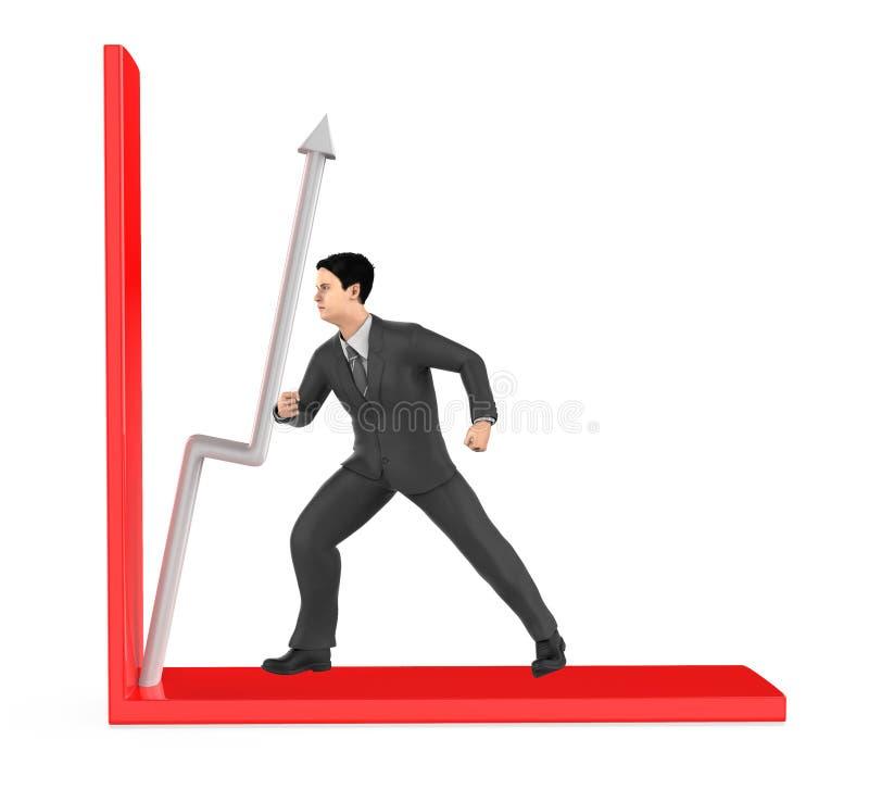 3d caractère, homme, flèche de poussée dans un graphique illustration stock