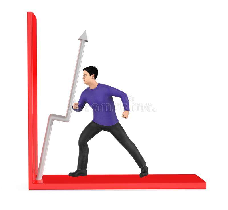 3d caractère, homme, flèche de poussée dans un graphique illustration libre de droits