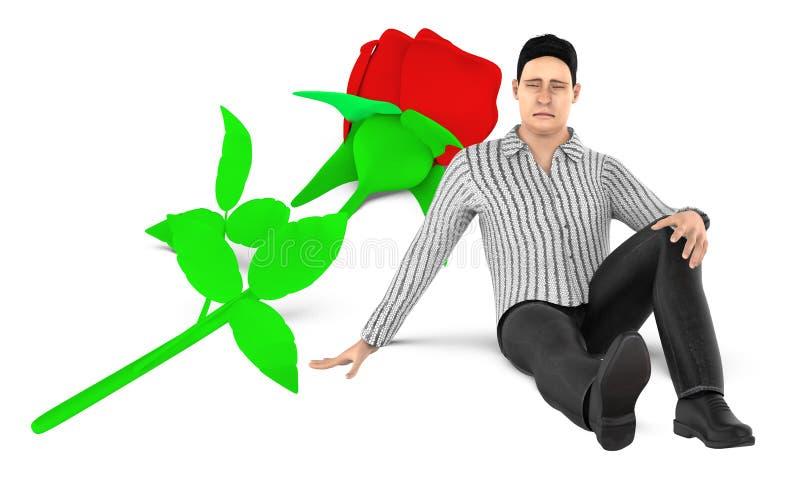 3d caractère, homme, presque se reposer triste et inquiété à une fleur au sol illustration libre de droits