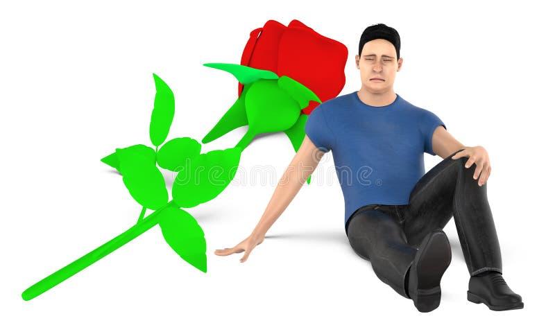 3d caractère, homme, presque se reposer triste et inquiété à une fleur au sol illustration de vecteur