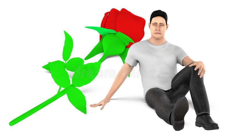 3d caractère, homme, presque se reposer triste et inquiété à une fleur au sol illustration stock