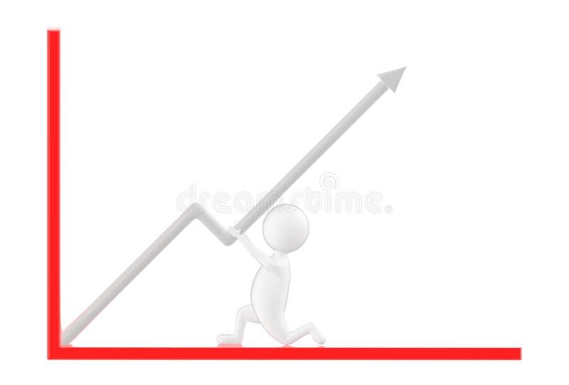 3d caractère, homme se soulevant vers le haut d'une flèche illustration stock