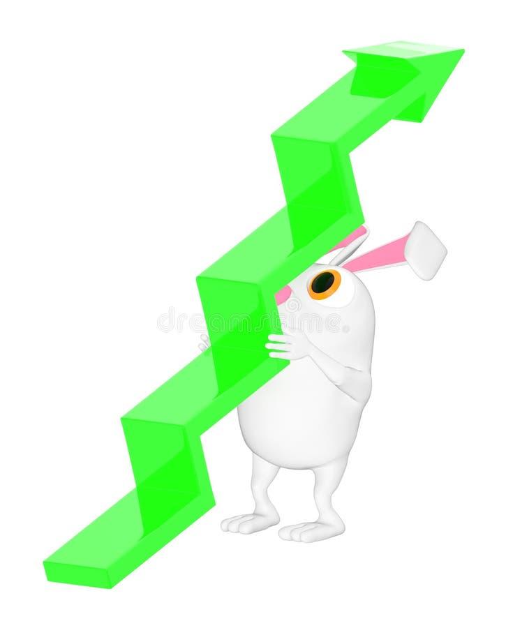 3d caractère, lapin se soulevant vers le haut d'une flèche illustration de vecteur