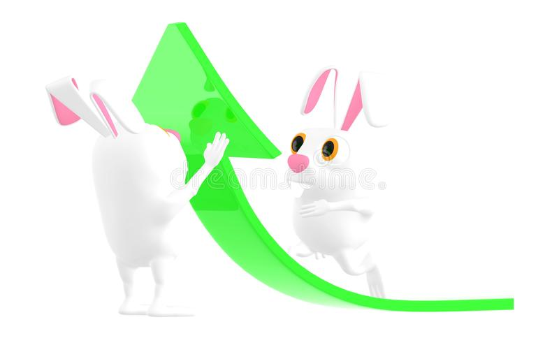 3d caractère, lapin se soulevant vers le haut d'une flèche, un autre lapin marchant au-dessus de elle illustration de vecteur