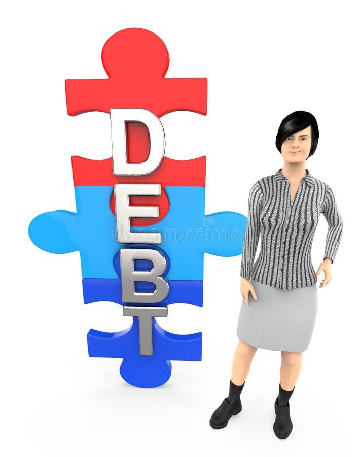 3d caractère, texte de dette de femme écrit dans le puzzle illustration de vecteur