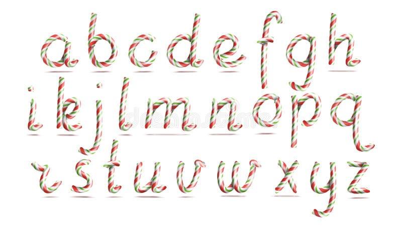 3D caramelo realista Cane Alphabet Vector Símbolo en colores de la Navidad Letra del Año Nuevo texturizada con el rojo, blanco ilustración del vector