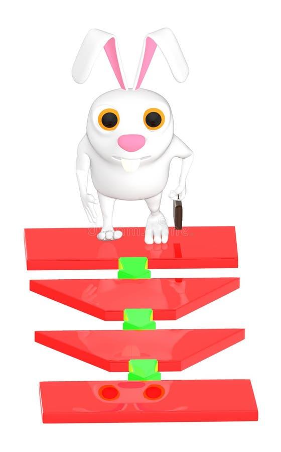 3d carattere, coniglio che controlla un diagramma di flusso illustrazione vettoriale