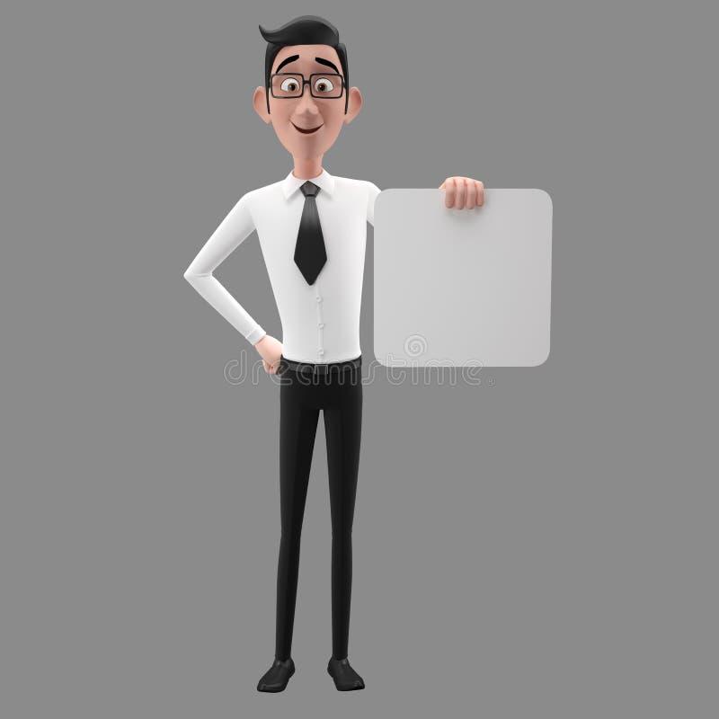 3d carattere divertente, uomo di sguardo comprensivo di affari del fumetto illustrazione di stock