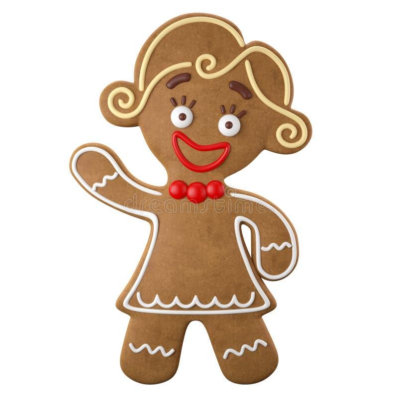 3d carattere, pan di zenzero allegro, decorazione divertente di Natale, illustrazione vettoriale