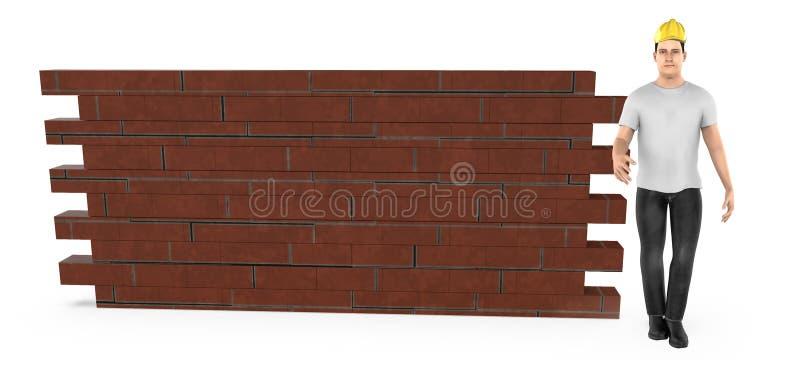 3d carattere, uomo che indossa casco duro e condizione vicino ad un muro di mattoni illustrazione di stock