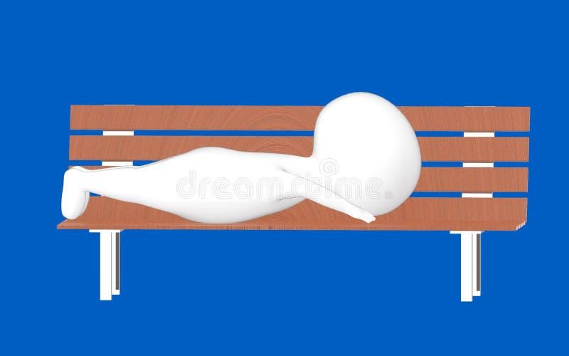 3d carattere, uomo che si trova su un banco di wodden illustrazione vettoriale