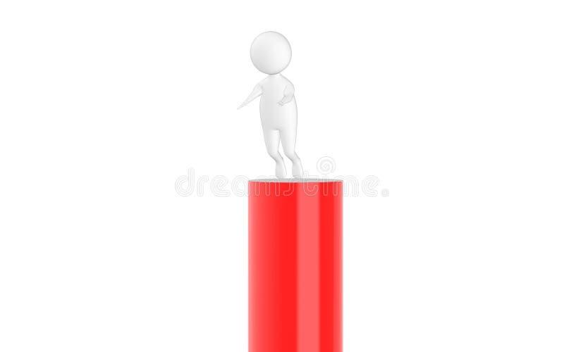 3d carattere, uomo che slitta dalla cima illustrazione vettoriale