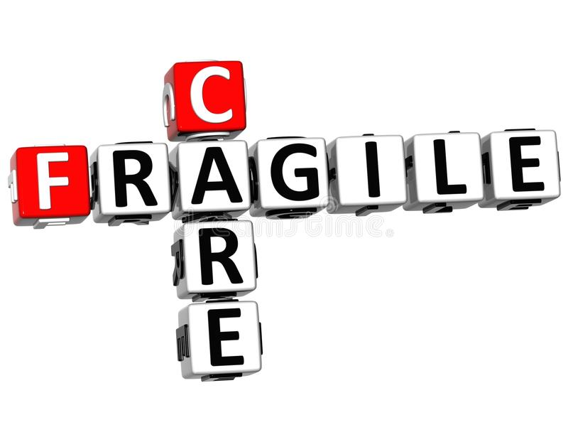 3D Care Fragile Crossword stock illustration