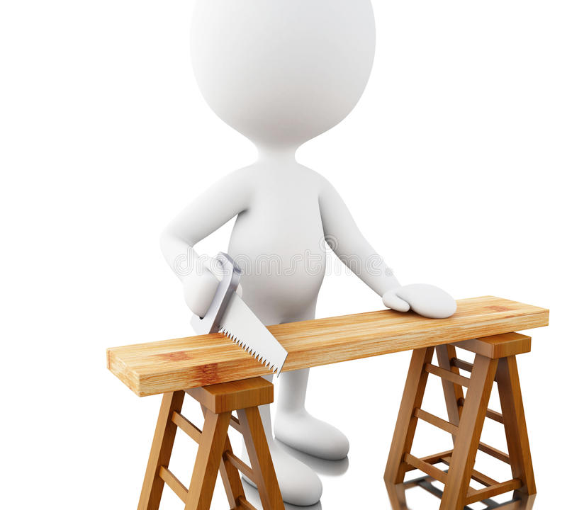 3D Carpenter cutting wood with handsaw. vector illustration