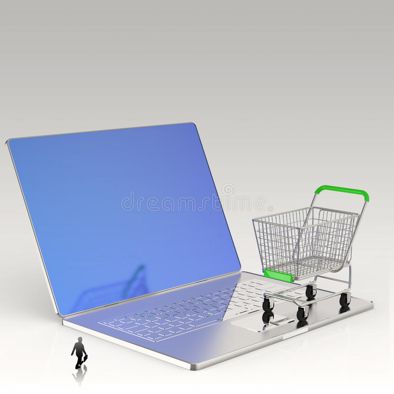3d cart on laptop computer as Online shop. Businessman looking at 3d cart on laptop computer as Online shopping concept vector illustration