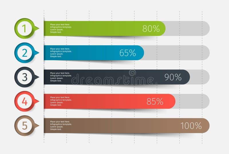 3d carta colorida moderna, gráfico Molde para o diagrama, a apresentação e a carta Elementos de Infographics Vetor ilustração stock