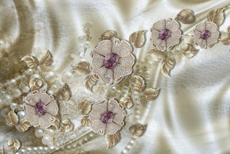 3D carta da parati, fiori dei gioielli su fondo di seta Fondo di celebrazione 3d illustrazione vettoriale
