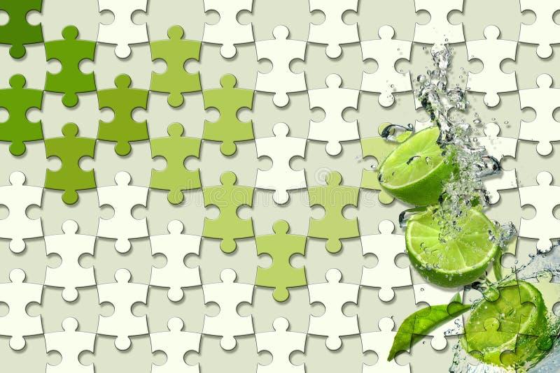 3d carta da parati, pezzi del puzzle, calce del limone, spruzzata dell'acqua su fondo verde chiaro immagini stock libere da diritti