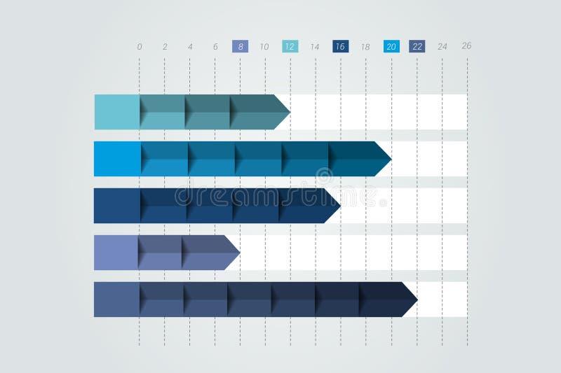 3D carta, gráfico Simplemente color editable ilustración del vector