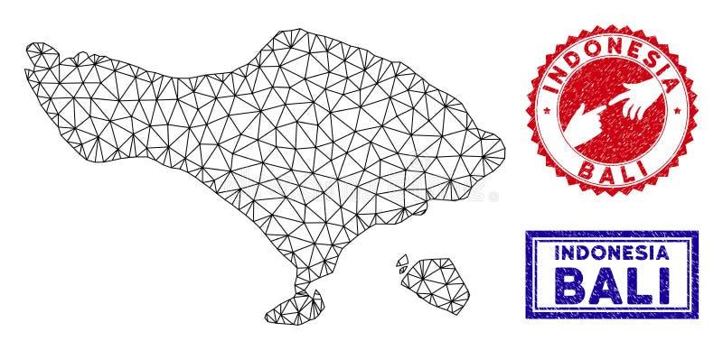 2D carte polygonale de Bali et timbres grunges illustration de vecteur