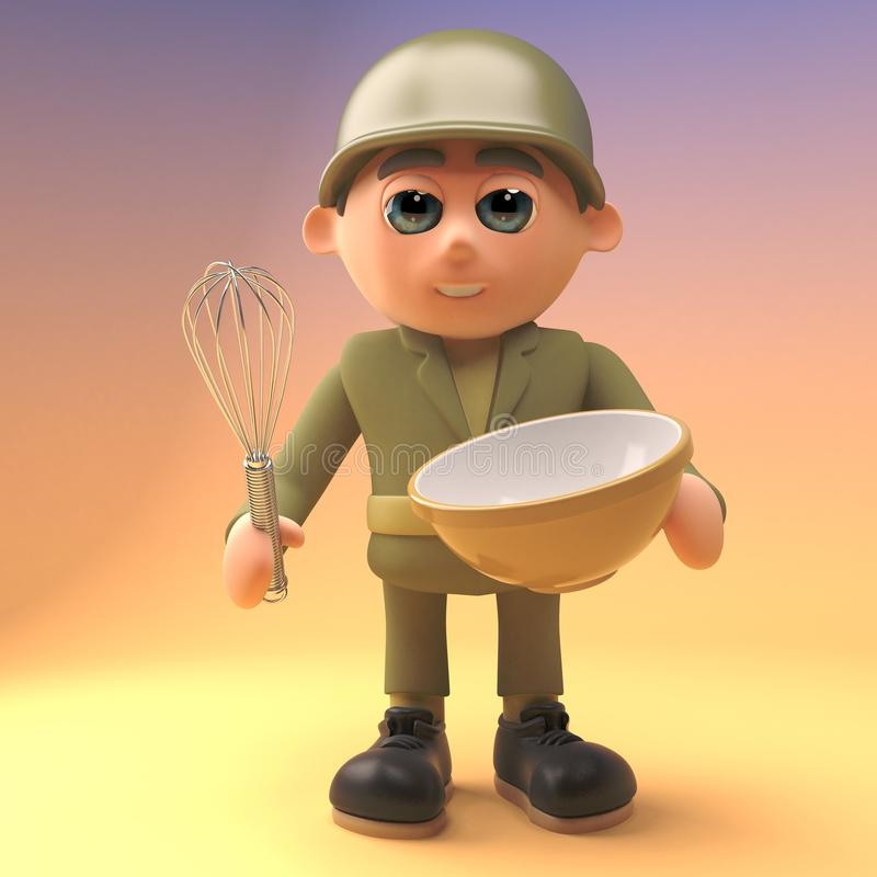 3d cartoon army soldier in military uniform mixing a cake in a bowl with a whisk, 3d illustration stock illustration