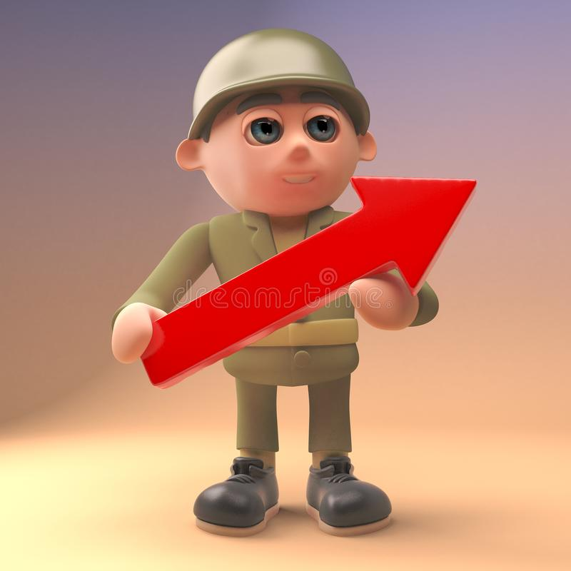 3d cartoon army soldier in uniform holding a red arrow, 3d illustration vector illustration
