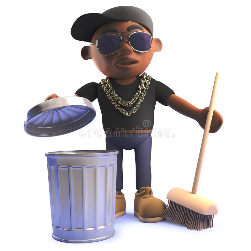3d cartoon black African American hiphop rapper with trash can and broom stock illustration
