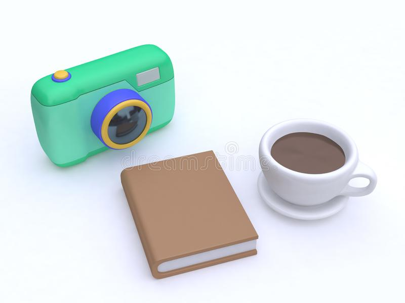 3d cartoon camera book coffee cup top view white background 3d render royalty free illustration