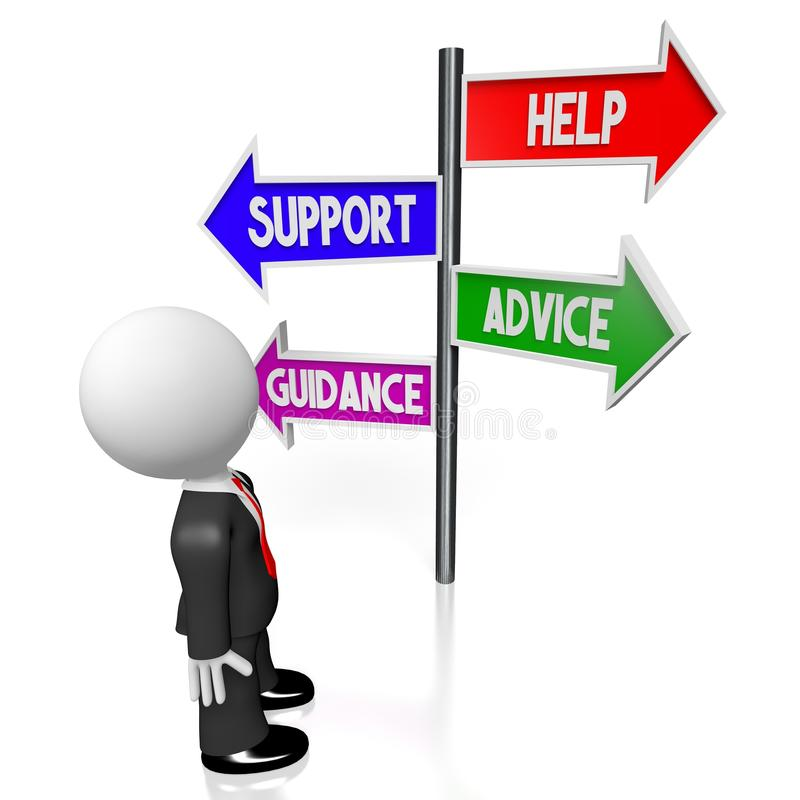 3D help, support, advice, guidance concept stock illustration