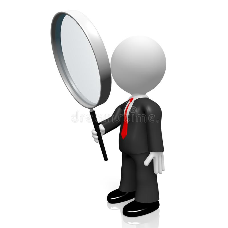 3D magnifying glass concept royalty free illustration