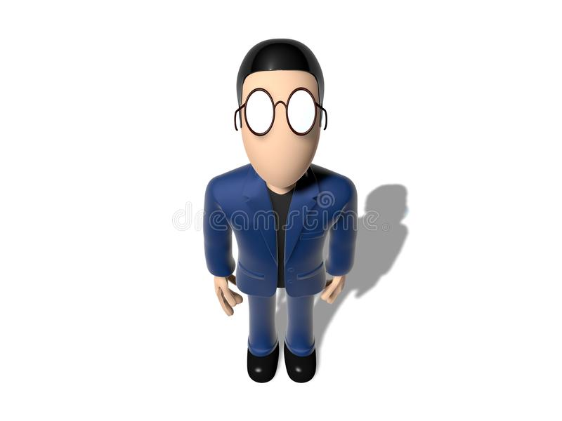 3D Cartoon character looking up the camera. Character with arms outstretched on a white backgroud with glasses dark hairs. Neutral face without nose and mouth vector illustration