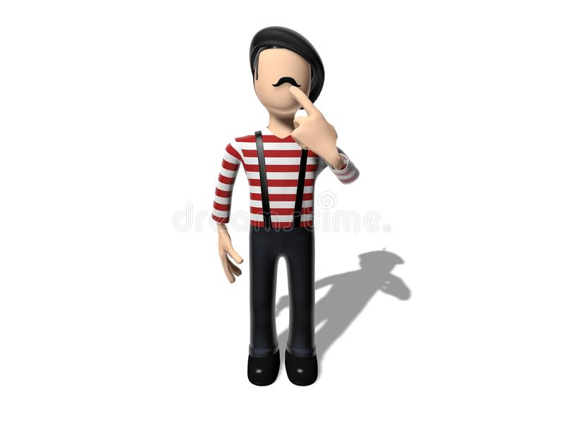 Download 3D Cartoon Character Thinking About Something Stock Illustration