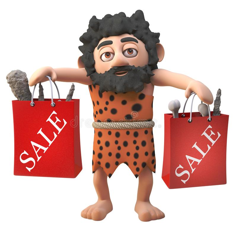 3d cartoon hairy caveman cartoon character with sale shopping bags full of bargains, 3d illustration stock illustration