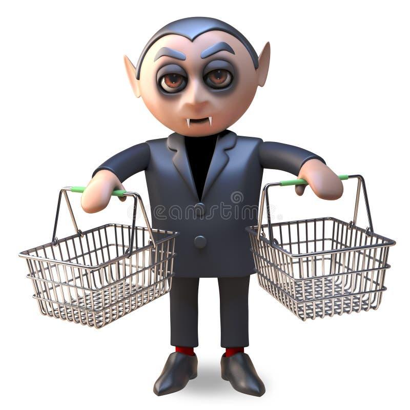3d cartoon Halloween vampire dracula holding two empty shopping baskets, 3d illustration stock illustration