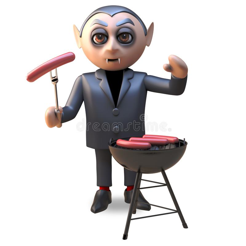 3d cartoon of a hungry Hallowee vampire dracula cooking on a barbecue bbq, 3d illustration. Render royalty free illustration