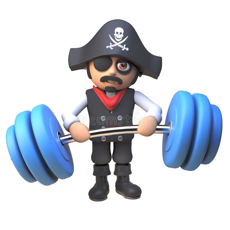 3d cartoon pirate captain character keeps fit lifting heavy weights, 3d illustration vector illustration