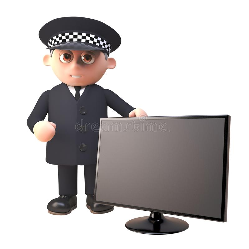 3d cartoon policeman character in uniform standing by a widescreen flatscreen tv monitor, 3d illustration. Render vector illustration
