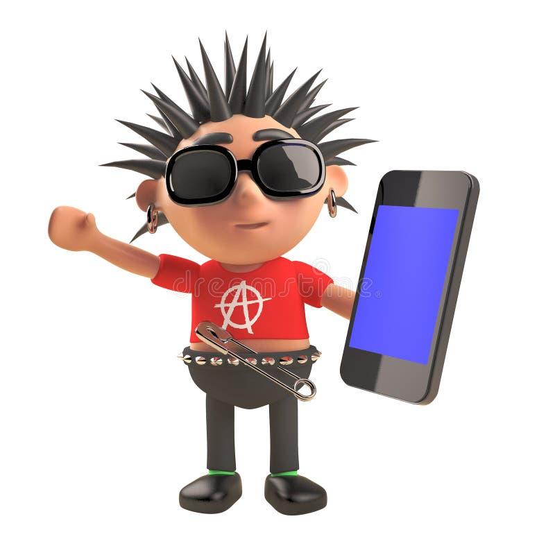 3d cartoon punk rocker with spiky hair using a smartphone tablet device, 3d illustration stock illustration