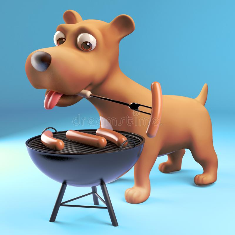 3d cartoon puppy dog cooking sausages on a barbecue bbq, 3d illustration. Render vector illustration