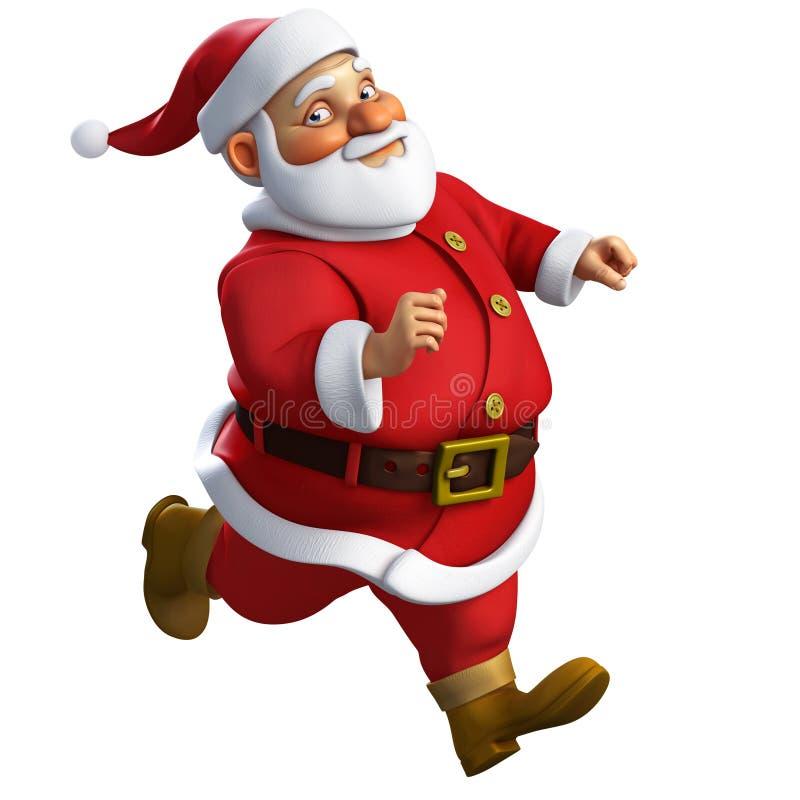 3d cartoon santa run. 3d cartoon santa claus run royalty free illustration