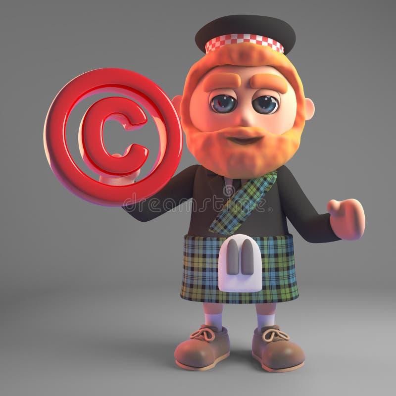 3d cartoon Scottish man in kilt holding a red copyright symbol 3d illustration royalty free illustration