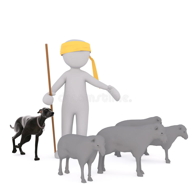 3d cartoon shepherd and his dog tending sheep. 3d rendered cartoon shepherd wearing a bright yellow bandanna and his dog tending a flock sheep royalty free illustration